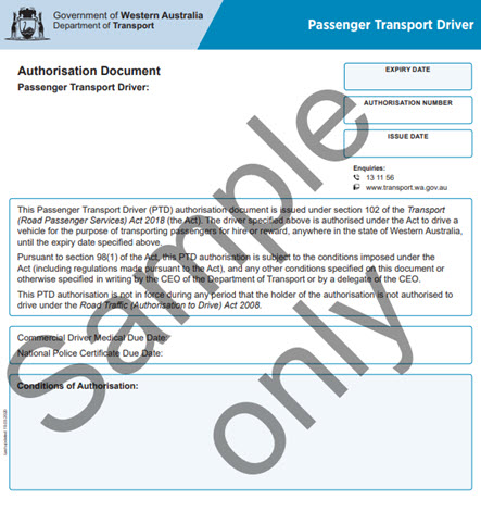 Passenger Transport Authorisation - sample