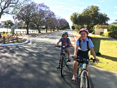 Two cyclists on Belmont Safe Active Street